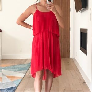 Red high-low tiered dress